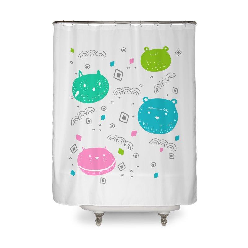 Cute animals pattern Home Shower Curtain by JMK's Artist Shop