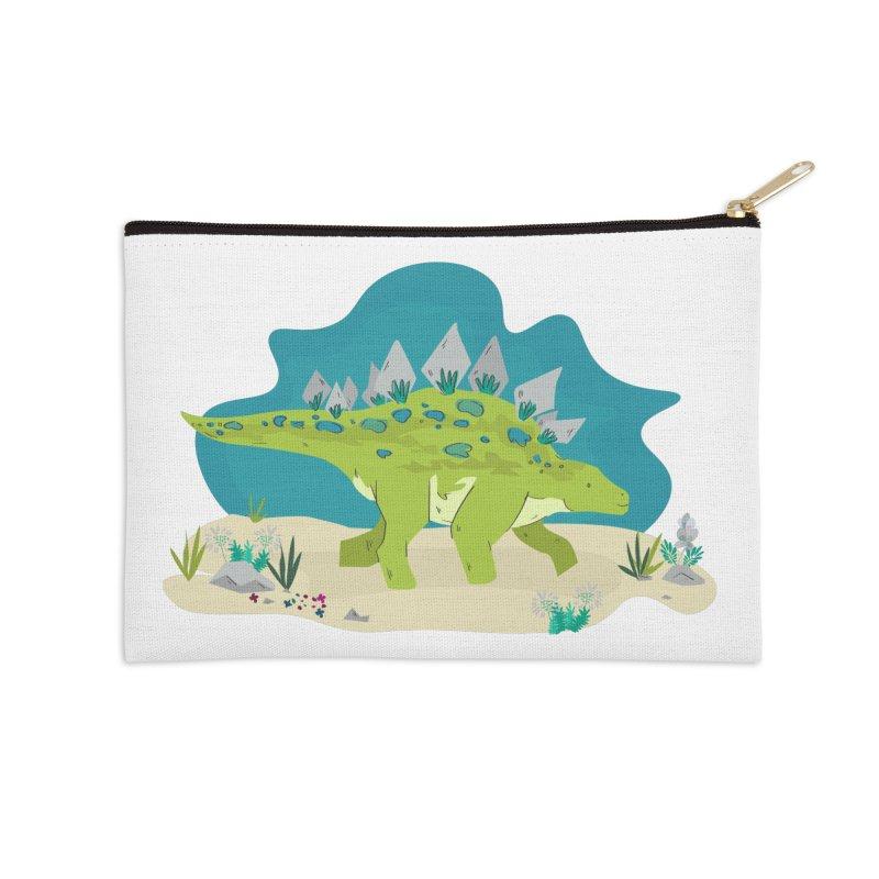 Stegosaurus Dino Accessories Zip Pouch by JMK's Artist Shop