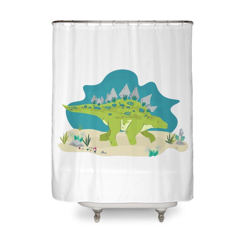 Stegosaurus Dino Home Shower Curtain by JMK's Artist Shop