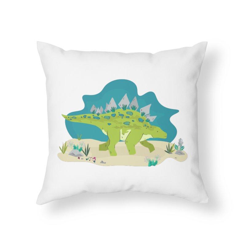 Stegosaurus Dino Home Throw Pillow by JMK's Artist Shop