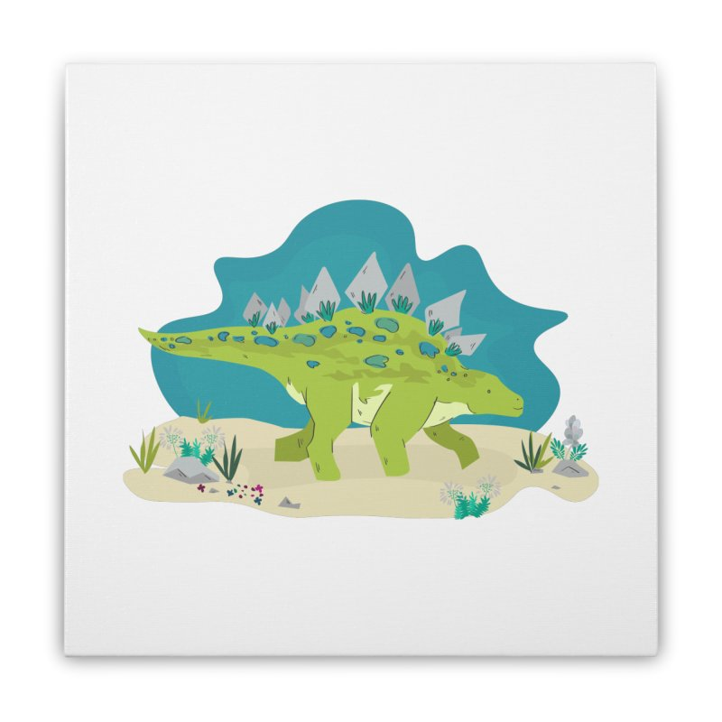 Stegosaurus Dino Home Stretched Canvas by JMK's Artist Shop