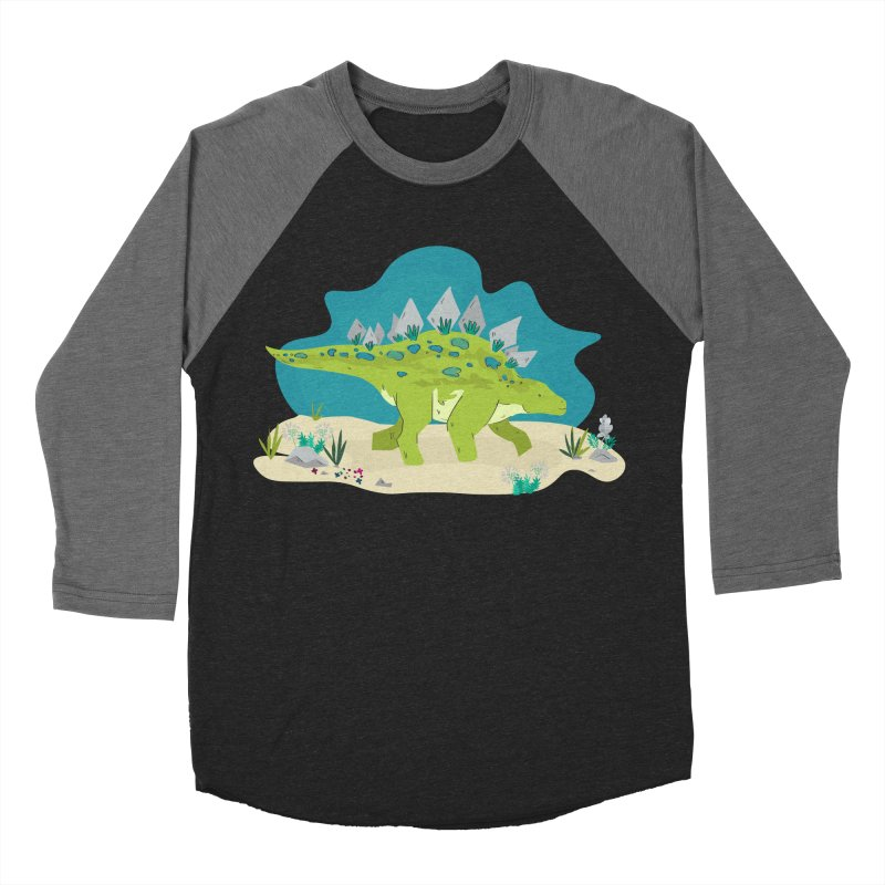 Stegosaurus Dino Women's Baseball Triblend T-Shirt by JMK's Artist Shop