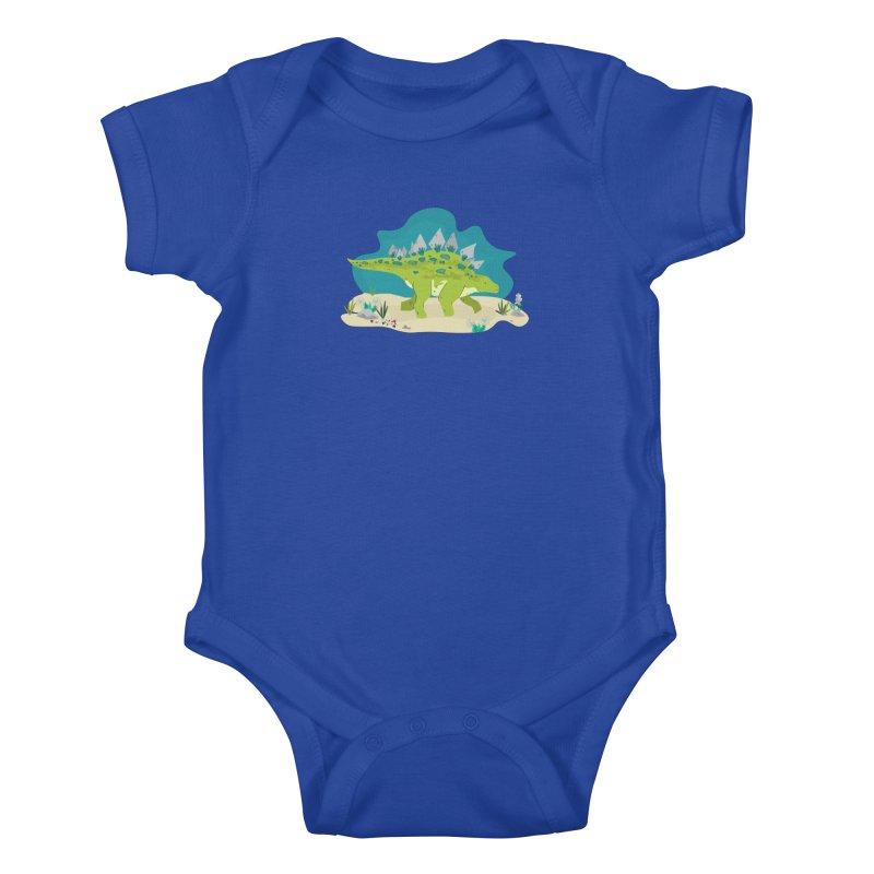 Stegosaurus Dino Kids Baby Bodysuit by JMK's Artist Shop