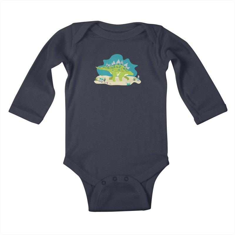 Stegosaurus Dino Kids Baby Longsleeve Bodysuit by JMK's Artist Shop
