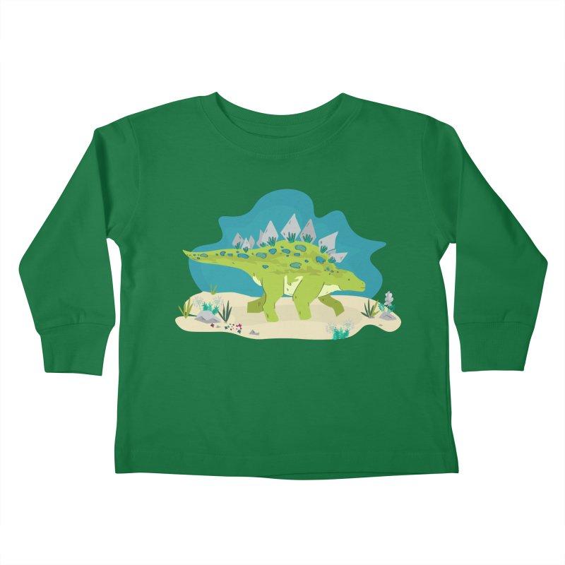 Stegosaurus Dino Kids Toddler Longsleeve T-Shirt by JMK's Artist Shop