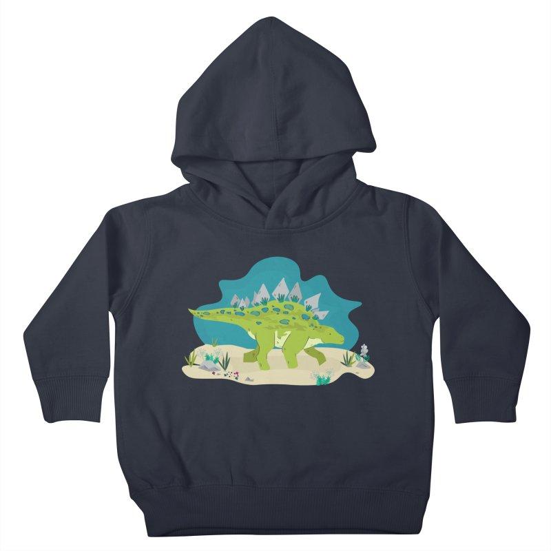 Stegosaurus Dino Kids Toddler Pullover Hoody by JMK's Artist Shop