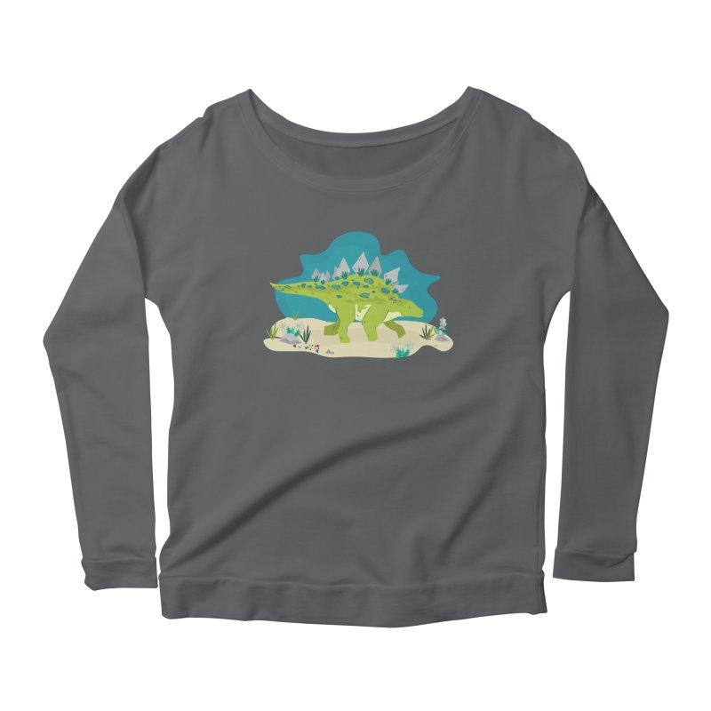 Stegosaurus Dino Women's Longsleeve Scoopneck  by JMK's Artist Shop