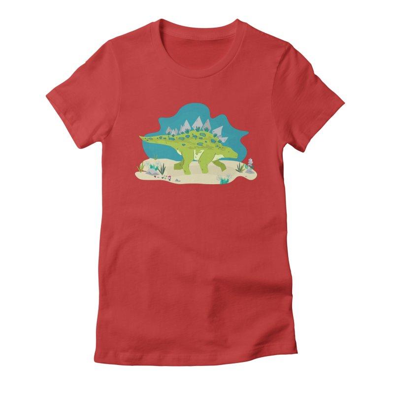 Stegosaurus Dino Women's Fitted T-Shirt by JMK's Artist Shop