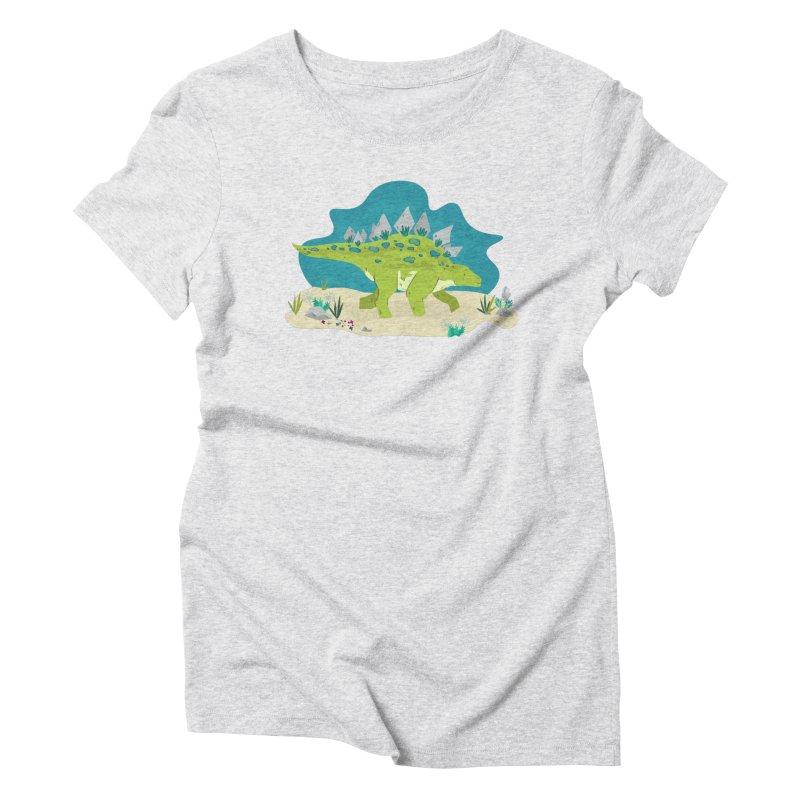 Stegosaurus Dino Women's Triblend T-Shirt by JMK's Artist Shop