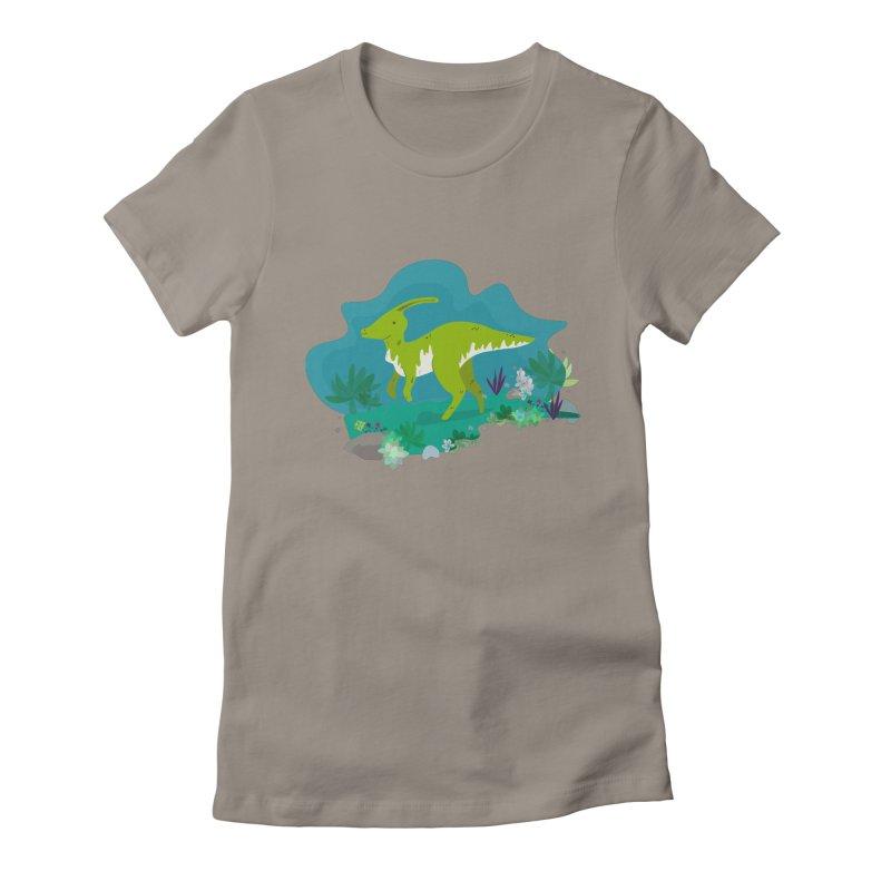 Dino run Women's Fitted T-Shirt by JMK's Artist Shop