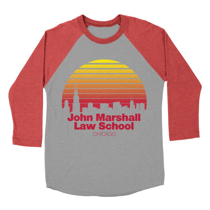 80's Retro Inspired JMLS in Men's Baseball Triblend T-Shirt Chili Red Sleeves by John Marshall Law School