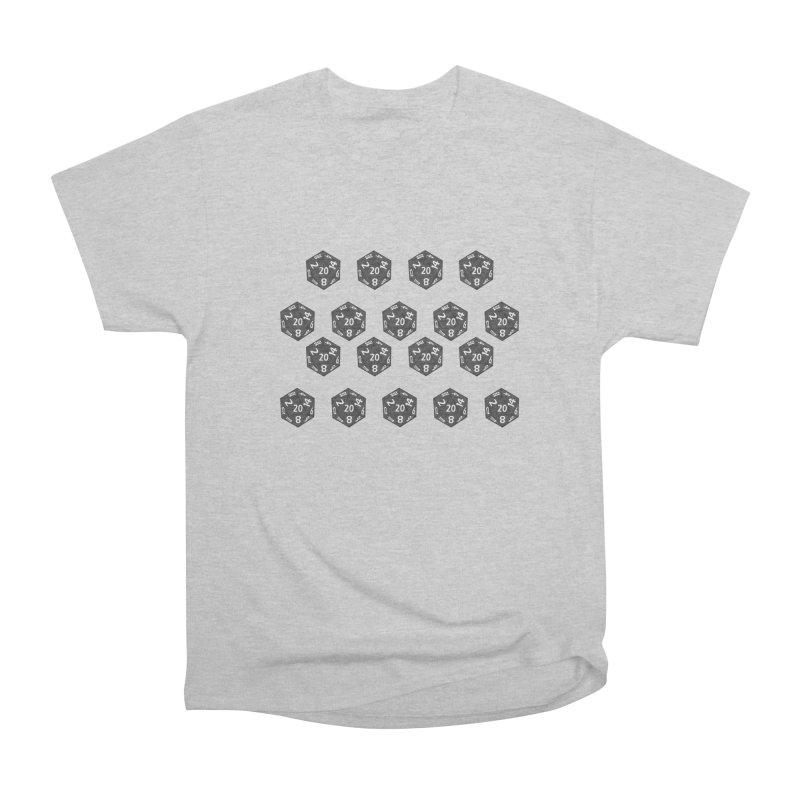 D20 - grey on black Men's T-Shirt by Joan Ninja Hen's Playground