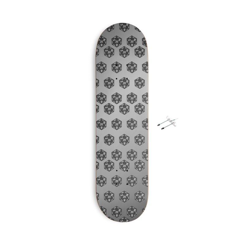 D20 - grey on black Accessories Skateboard by Joan Ninja Hen's Playground