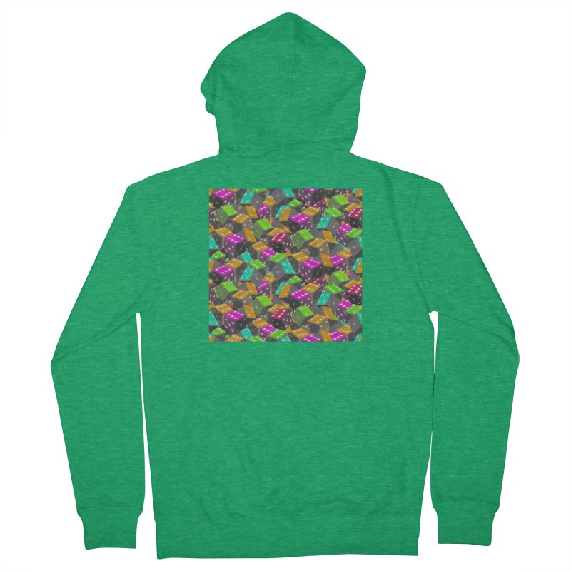Dice Pattern - Grey/Orange/Green Edit Women's Zip-Up Hoody by Joan Ninja Hen's Playground