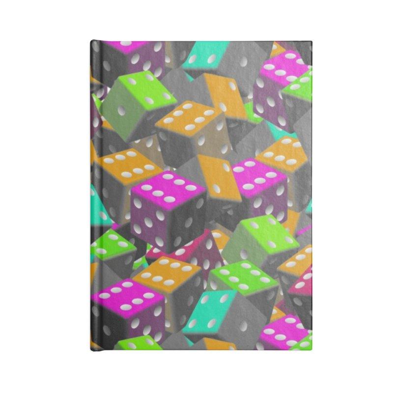 Dice Pattern - Grey/Orange/Green Edit Accessories Notebook by Joan Ninja Hen's Playground