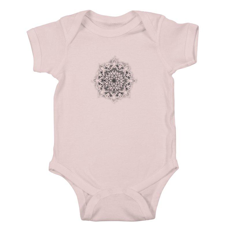 Dotwork Mandala Kids Baby Bodysuit by Jocelyn Tattoo