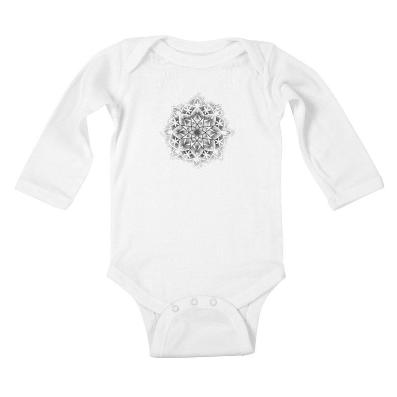 Dotwork Mandala Kids Baby Longsleeve Bodysuit by Jocelyn Tattoo