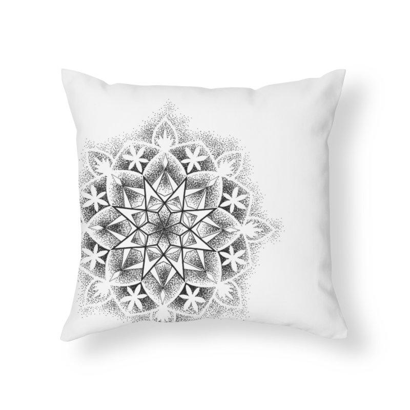 Dotwork Mandala Home Throw Pillow by Jocelyn Tattoo