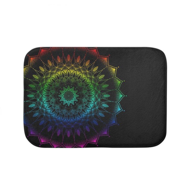 Rainbow Mandala Home Bath Mat by Jocelyn Tattoo