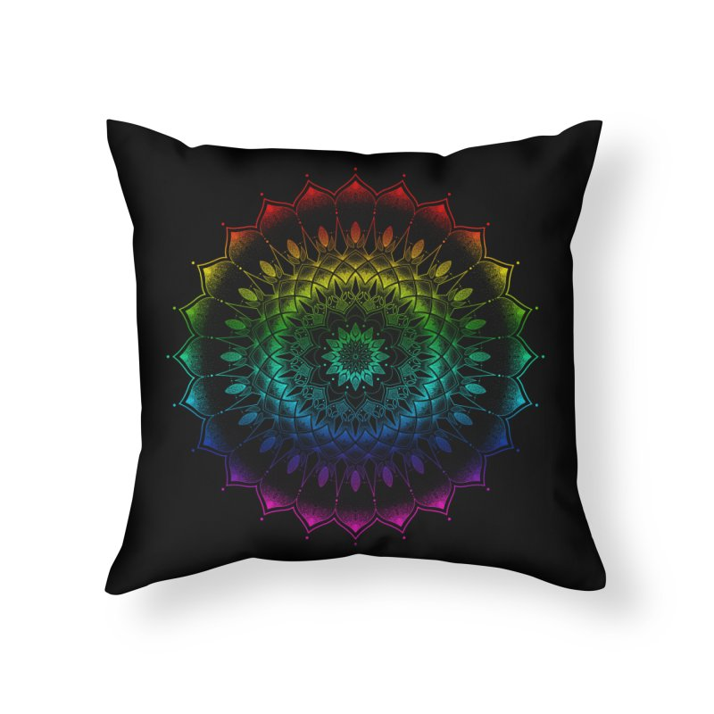 Rainbow Mandala in Throw Pillow by Jocelyn Tattoo