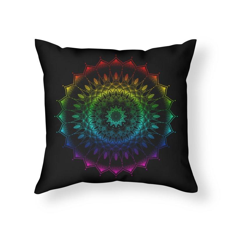 Rainbow Mandala Home Throw Pillow by Jocelyn Tattoo