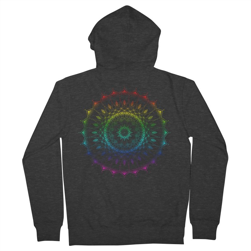 Rainbow Mandala Women's French Terry Zip-Up Hoody by Jocelyn Tattoo