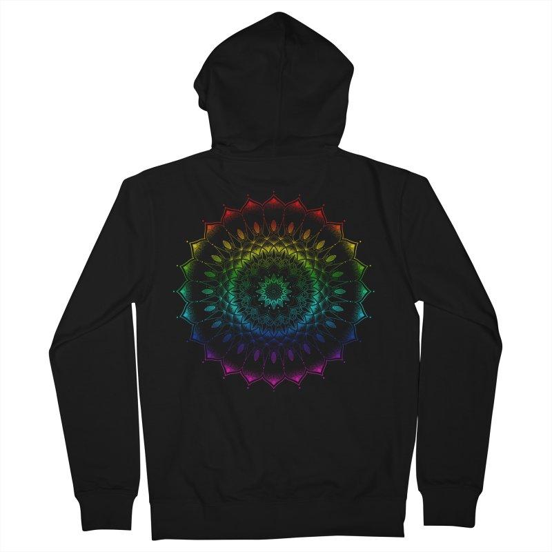 Rainbow Mandala in Women's French Terry Zip-Up Hoody Black by Jocelyn Tattoo
