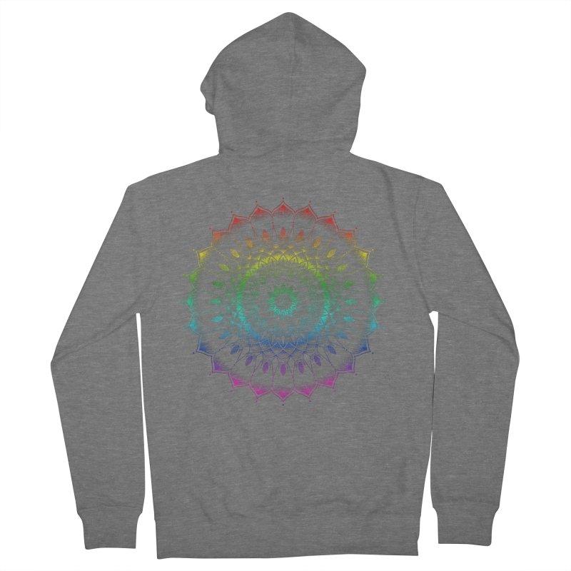 Rainbow Mandala Men's French Terry Zip-Up Hoody by Jocelyn Tattoo