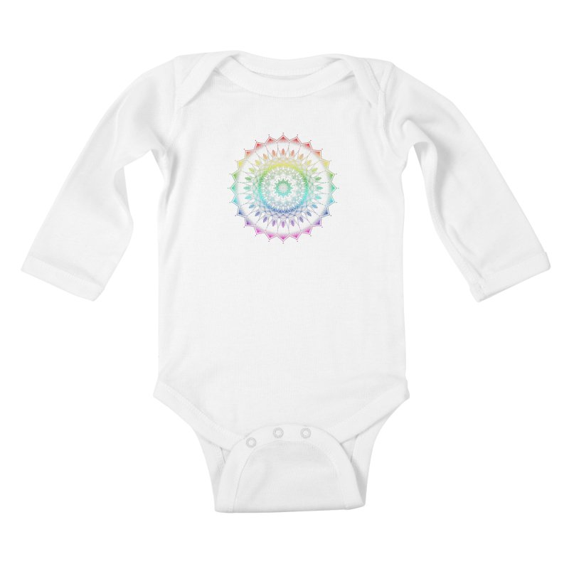 Rainbow Mandala Kids Baby Longsleeve Bodysuit by Jocelyn Tattoo