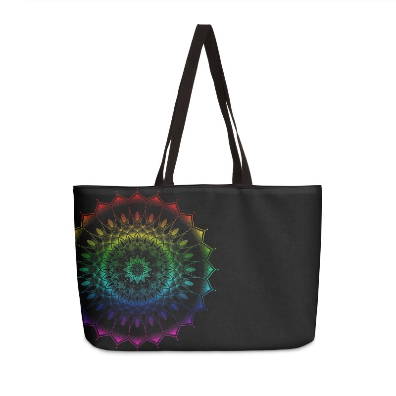 Rainbow Mandala Accessories Weekender Bag Bag by Jocelyn Tattoo