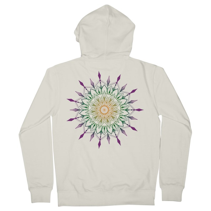 Purple Mandala in Women's French Terry Zip-Up Hoody Heather Oatmeal by Jocelyn Tattoo