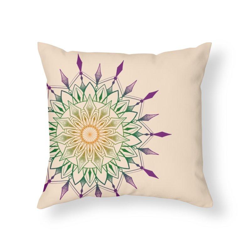 Purple Mandala Home Throw Pillow by Jocelyn Tattoo