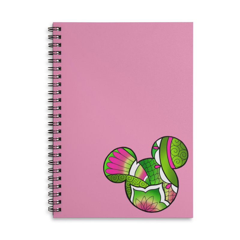 Ornamental Mickey Green Accessories Lined Spiral Notebook by Jocelyn Tattoo