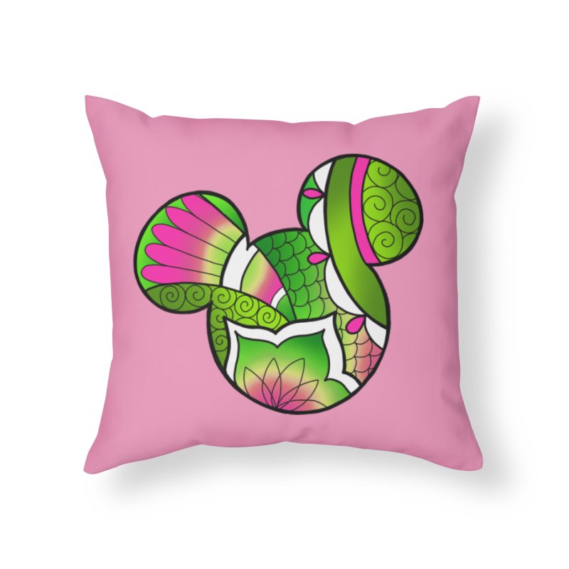 Ornamental Mickey Green Home Throw Pillow by Jocelyn Tattoo