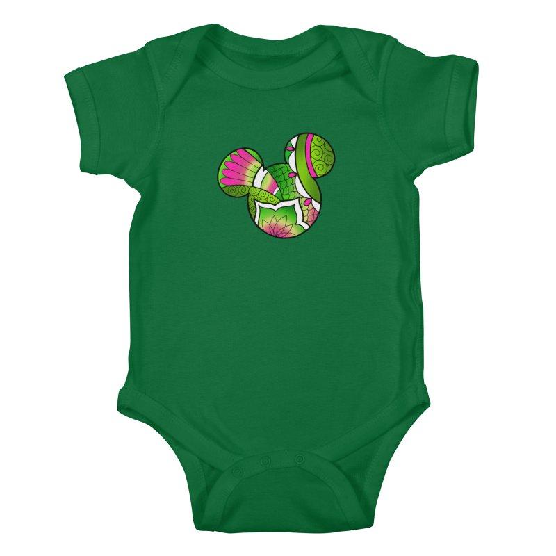 Ornamental Mickey Green Kids Baby Bodysuit by Jocelyn Tattoo