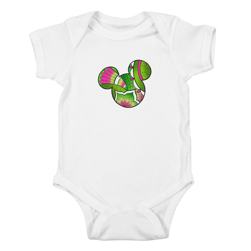 Ornamental Mickey Green Kids Baby Bodysuit by Jocelyn Tattoo