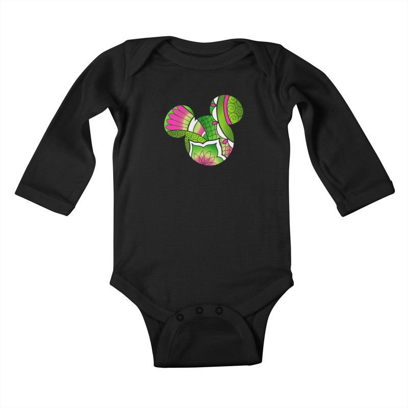 Ornamental Mickey Green Kids Baby Longsleeve Bodysuit by Jocelyn Tattoo