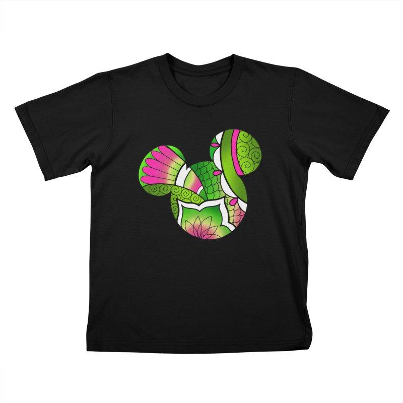 Ornamental Mickey Green Kids T-Shirt by Jocelyn Tattoo