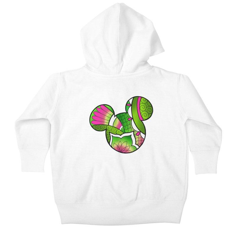 Ornamental Mickey Green Kids Baby Zip-Up Hoody by Jocelyn Tattoo