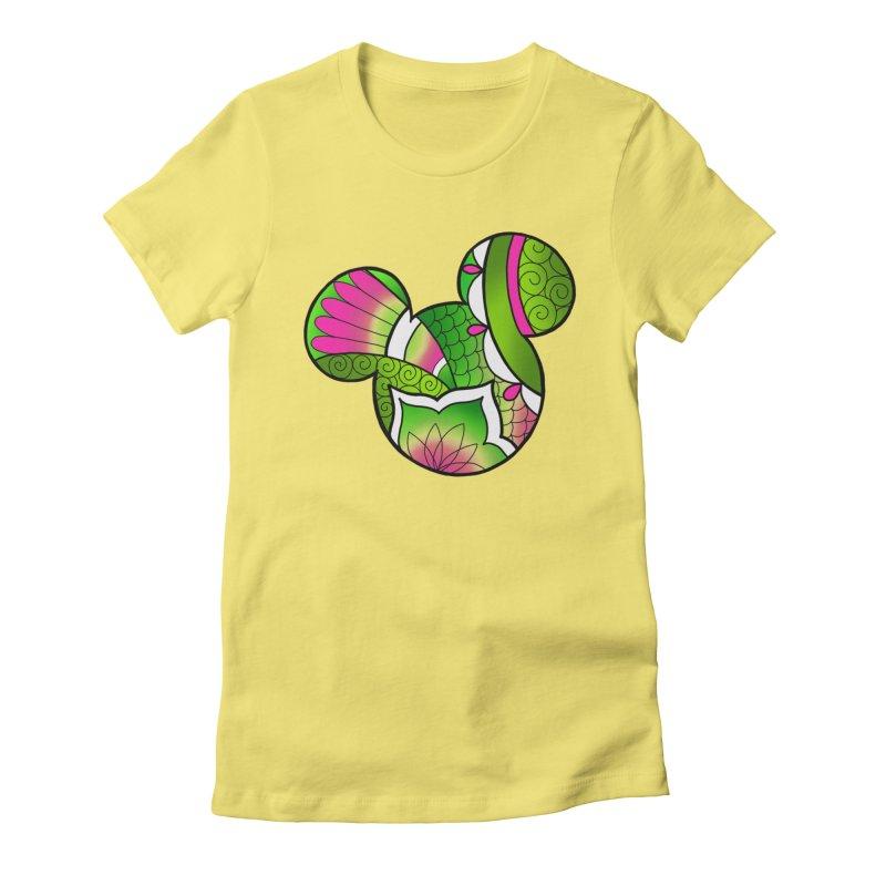 Ornamental Mickey Green Women's Fitted T-Shirt by Jocelyn Tattoo