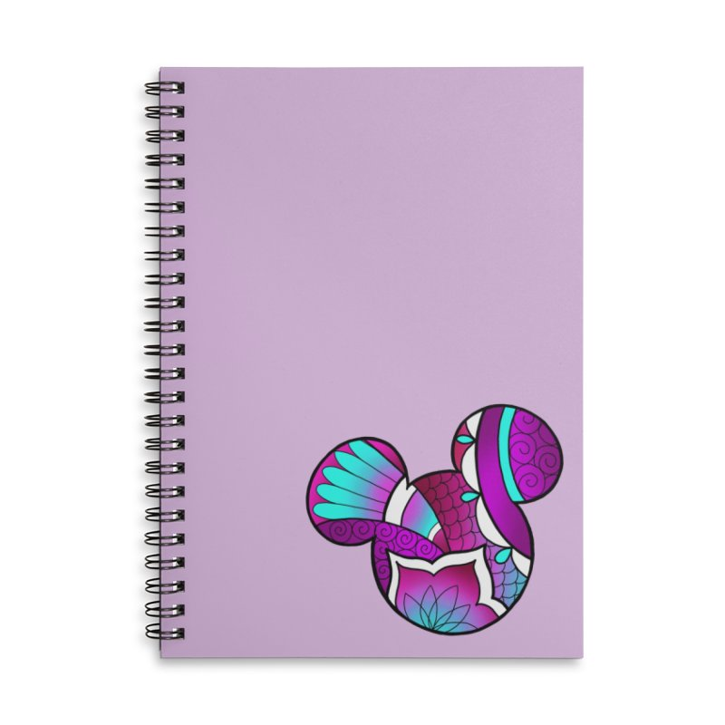 Ornamental Mickey Purple Accessories Lined Spiral Notebook by Jocelyn Tattoo