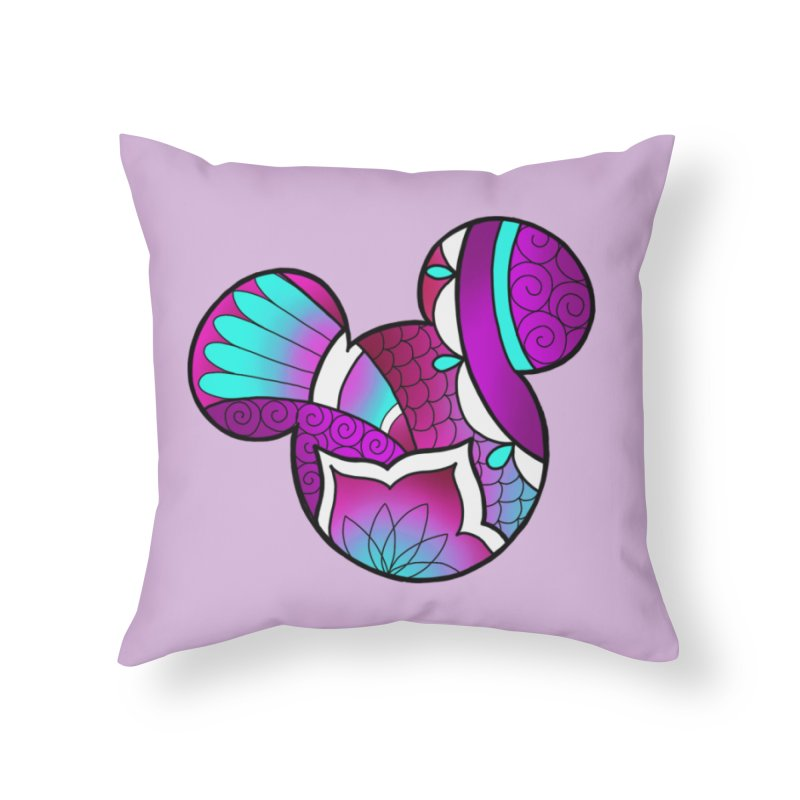 Ornamental Mickey Purple Home Throw Pillow by Jocelyn Tattoo