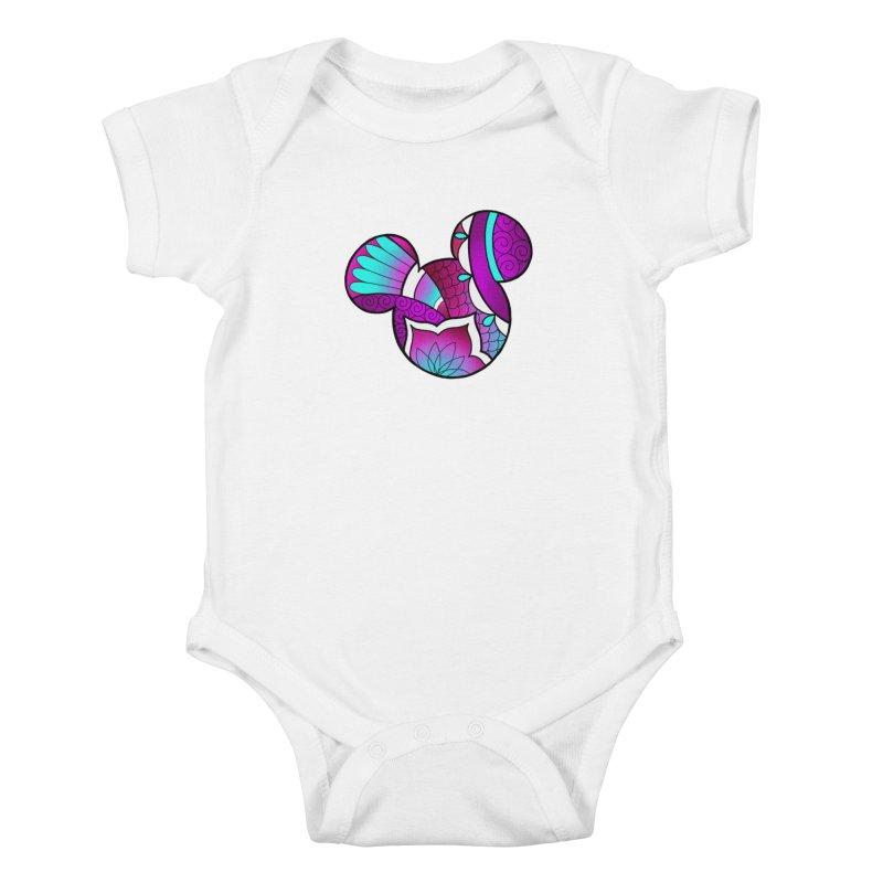 Ornamental Mickey Purple Kids Baby Bodysuit by Jocelyn Tattoo
