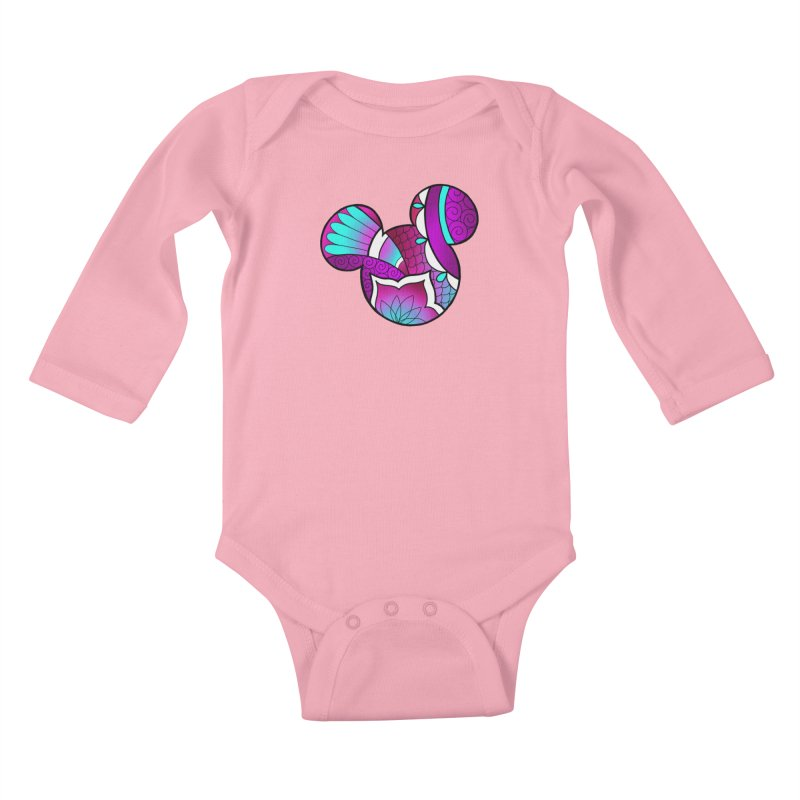 Ornamental Mickey Purple Kids Baby Longsleeve Bodysuit by Jocelyn Tattoo