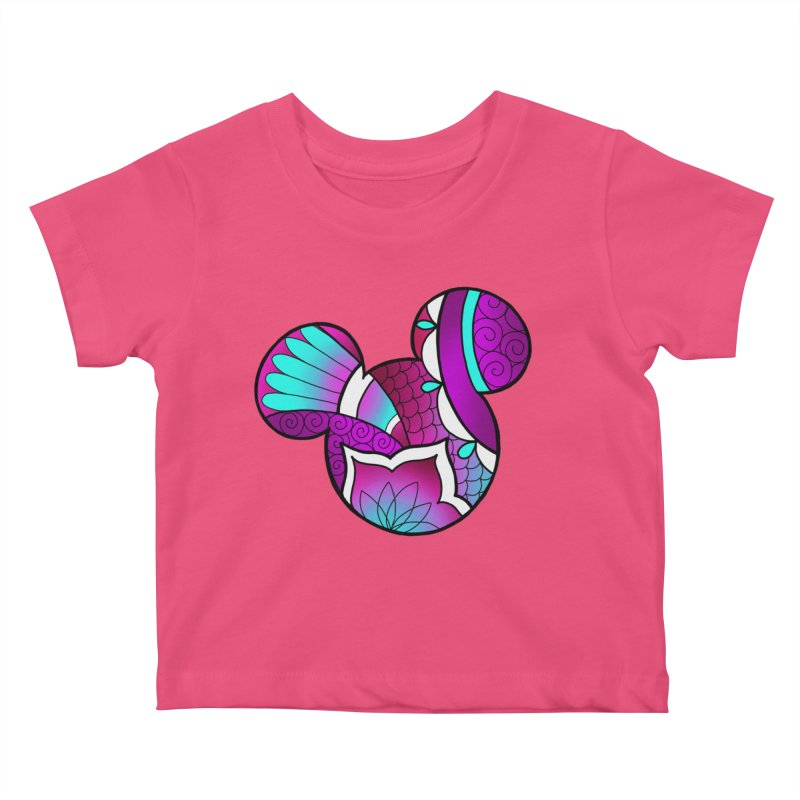 Ornamental Mickey Purple Kids Baby T-Shirt by Jocelyn Tattoo