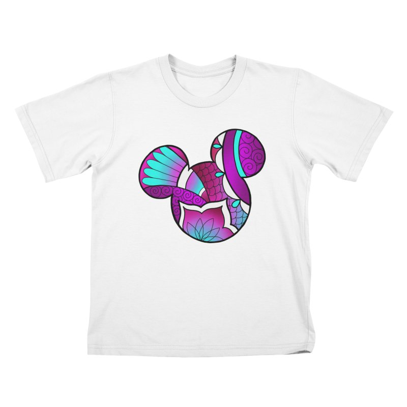 Ornamental Mickey Purple Kids T-Shirt by Jocelyn Tattoo