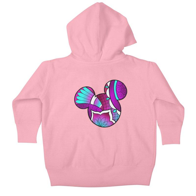 Ornamental Mickey Purple Kids Baby Zip-Up Hoody by Jocelyn Tattoo