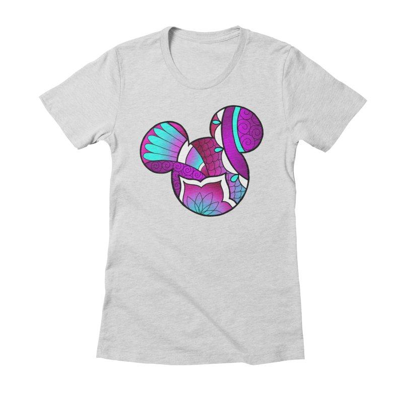 Ornamental Mickey Purple Women's Fitted T-Shirt by Jocelyn Tattoo