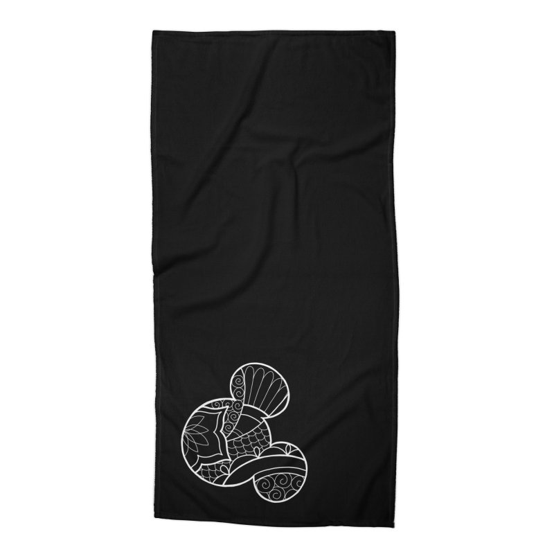 Ornamental Mickey White Accessories Beach Towel by Jocelyn Tattoo