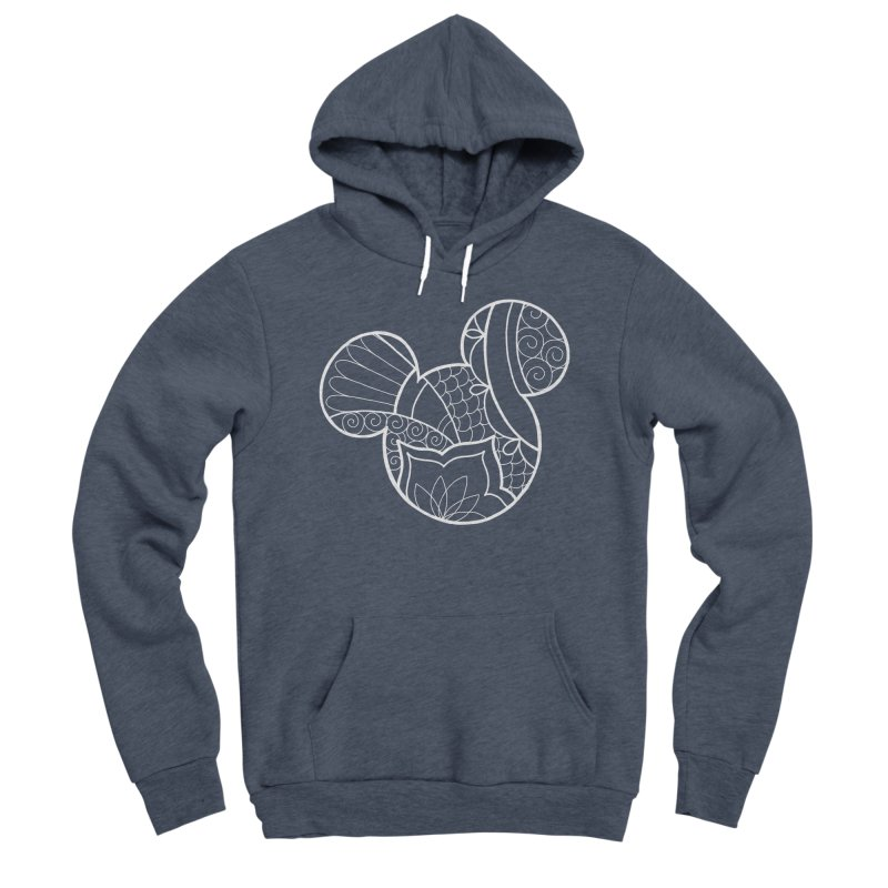 Ornamental Mickey White Women's Sponge Fleece Pullover Hoody by Jocelyn Tattoo